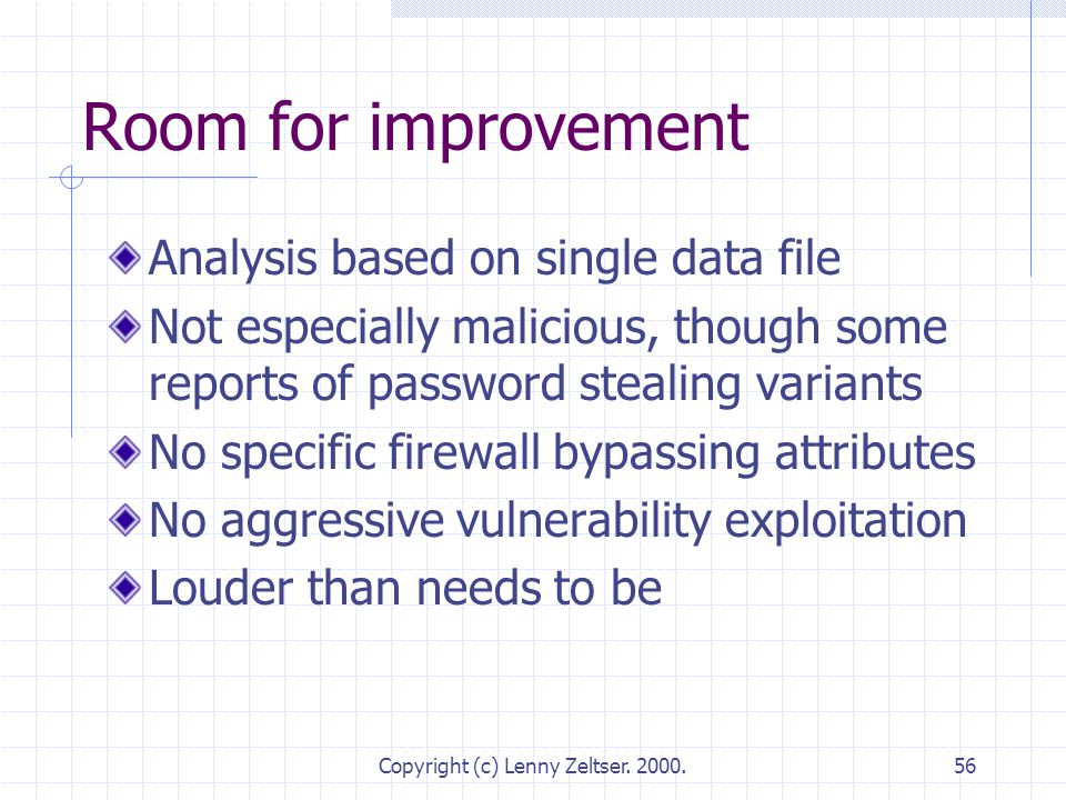 Copyright (c) Lenny Zeltser. 2000.56 Room for improvement Analysis based on single data file Not especially malicious, though some reports of password