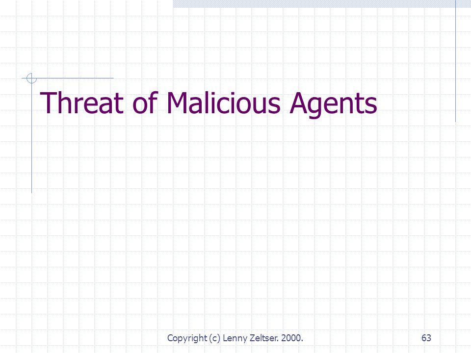 Copyright (c) Lenny Zeltser. 2000.63 Threat of Malicious Agents