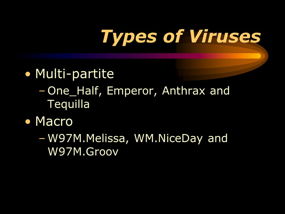 Types of Viruses Multi-partite –One_Half, Emperor, Anthrax and Tequilla Macro –W97M.Melissa, WM.NiceDay and W97M.Groov