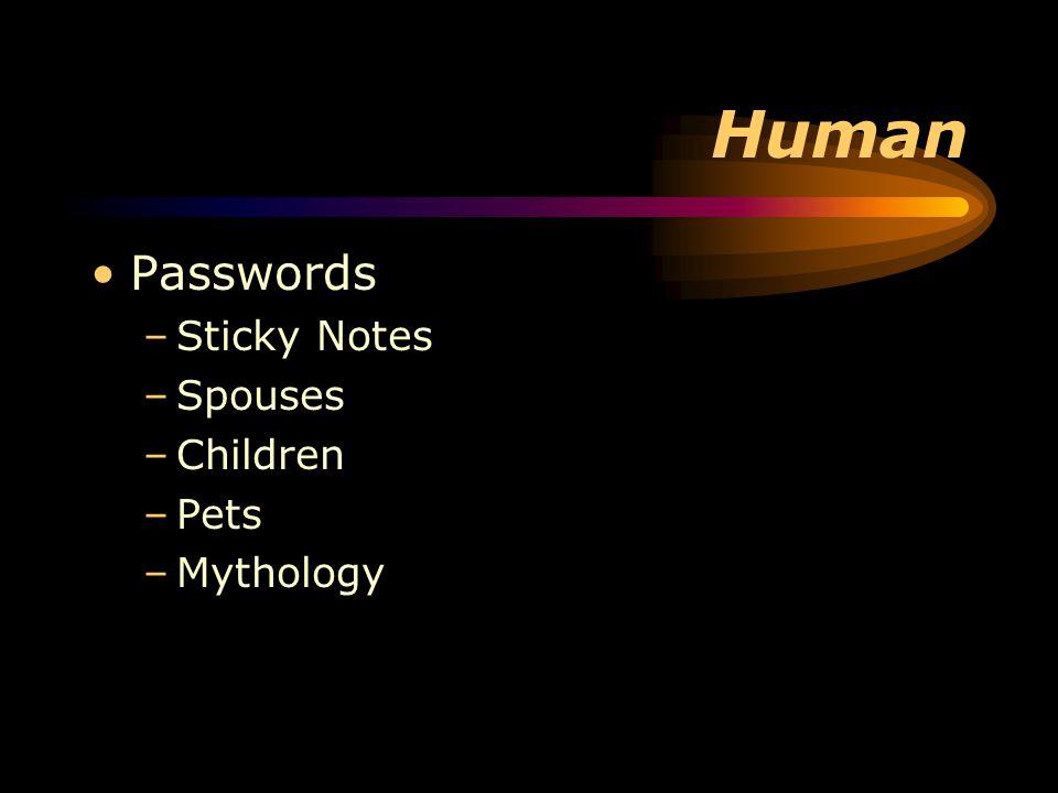 Human Passwords –Sticky Notes –Spouses –Children –Pets –Mythology