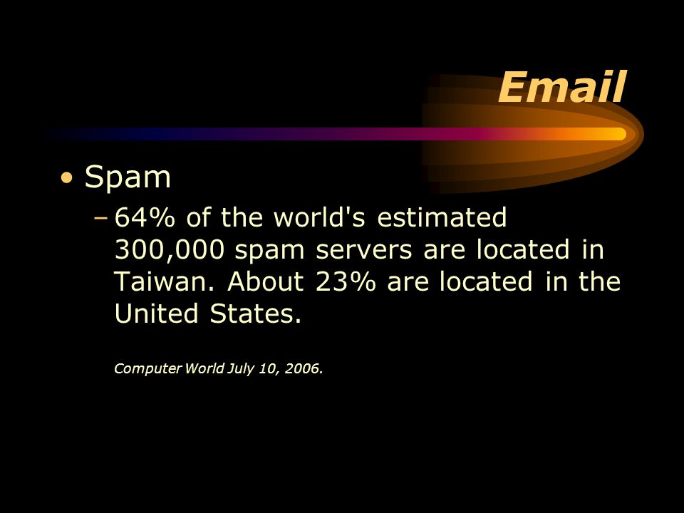 Email Spam –64% of the world s estimated 300,000 spam servers are located in Taiwan.