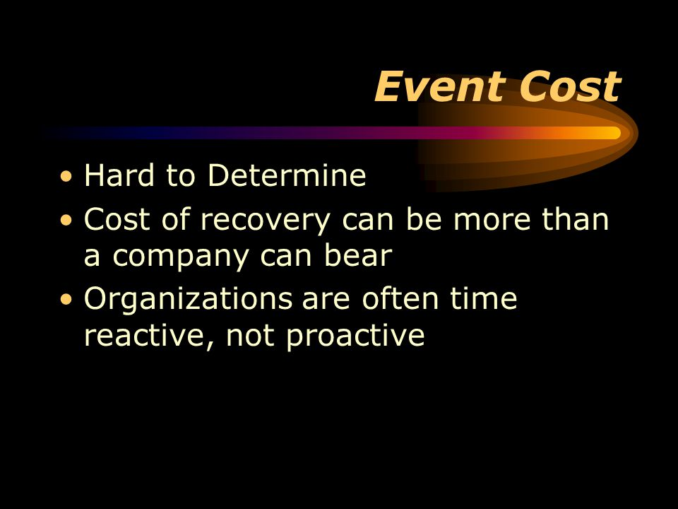 Event Cost Hard to Determine Cost of recovery can be more than a company can bear Organizations are often time reactive, not proactive