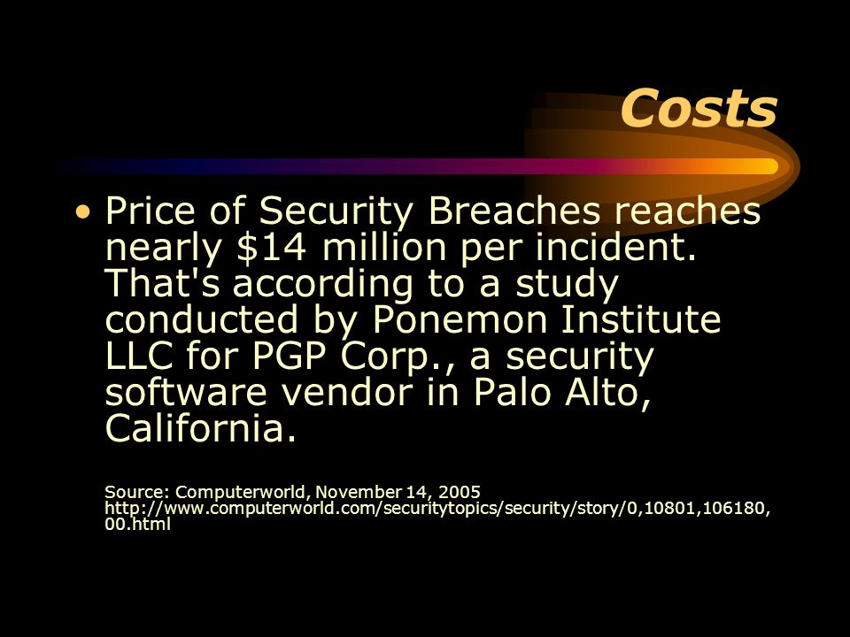 Costs Price of Security Breaches reaches nearly $14 million per incident.