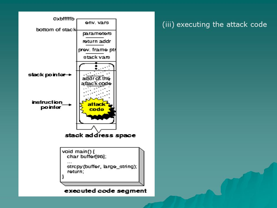 (iii) executing the attack code