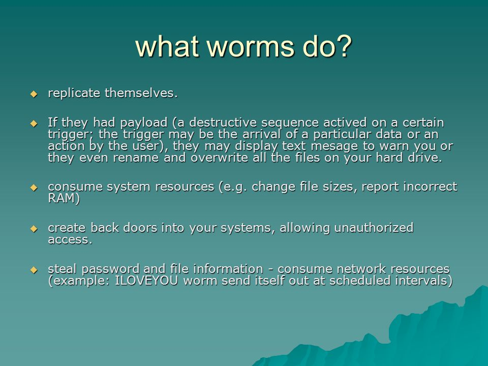 what worms do?  replicate themselves.  If they had payload (a destructive sequence actived on a certain trigger; the trigger may be the arrival of a