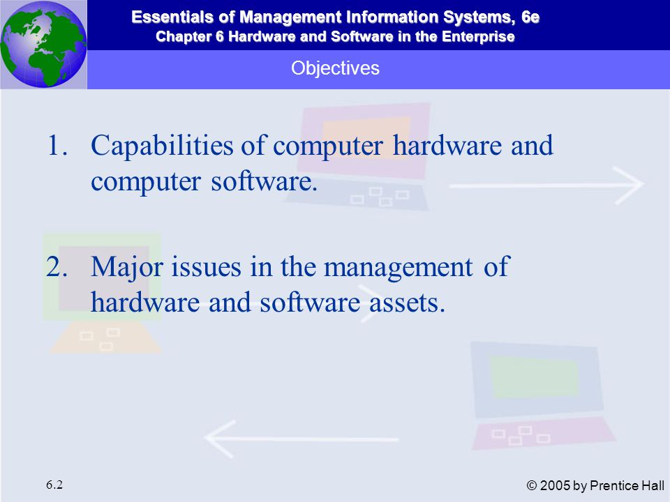 Essentials of Management Information Systems, 6e Chapter 6 Hardware and Software in the Enterprise 6.3 © 2005 by Prentice Hall Computer Hardware and Information Technology Infrastructure Hardware components of a computer system Figure 6-1