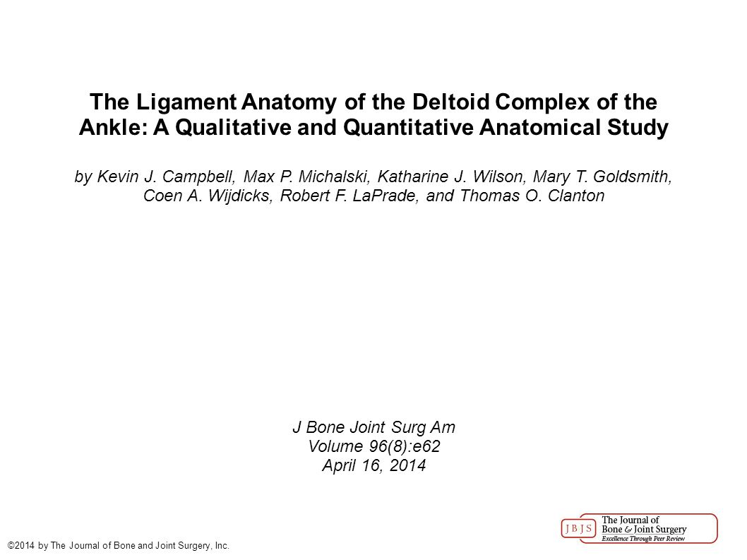 The Ligament Anatomy of the Deltoid Complex of the Ankle: A Qualitative and Quantitative Anatomical Study by Kevin J.