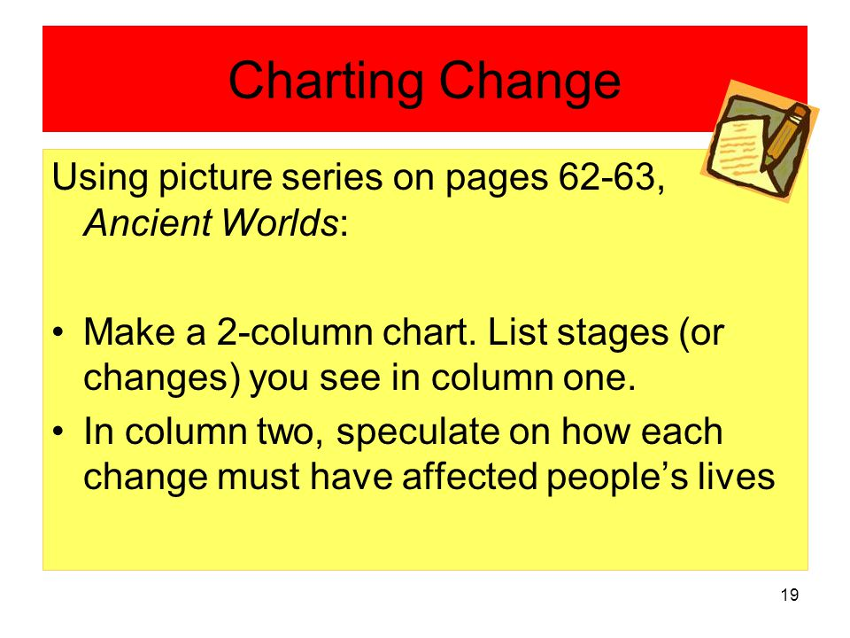 19 Charting Change Using picture series on pages 62-63, Ancient Worlds: Make a 2-column chart.