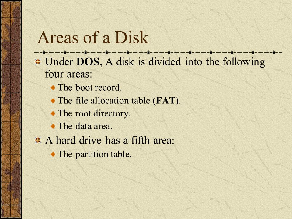 Areas of a Disk Under DOS, A disk is divided into the following four areas: The boot record. The file allocation table (FAT). The root directory. The