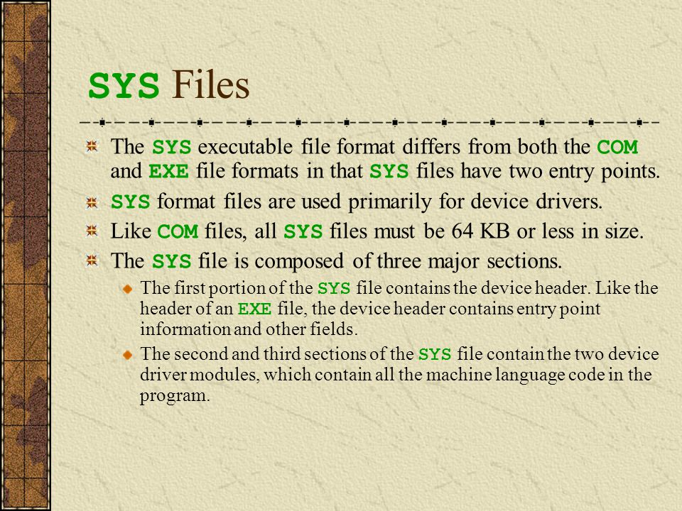 SYS Files The SYS executable file format differs from both the COM and EXE file formats in that SYS files have two entry points. SYS format files are