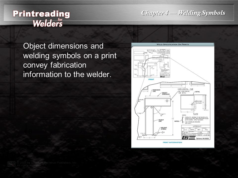 PowerPoint ® Presentation Chapter 4 Welding Symbols Weld Specification on Prints Weld Joints Weld Types Welding Symbols Edge Preparation Brazing Symbo