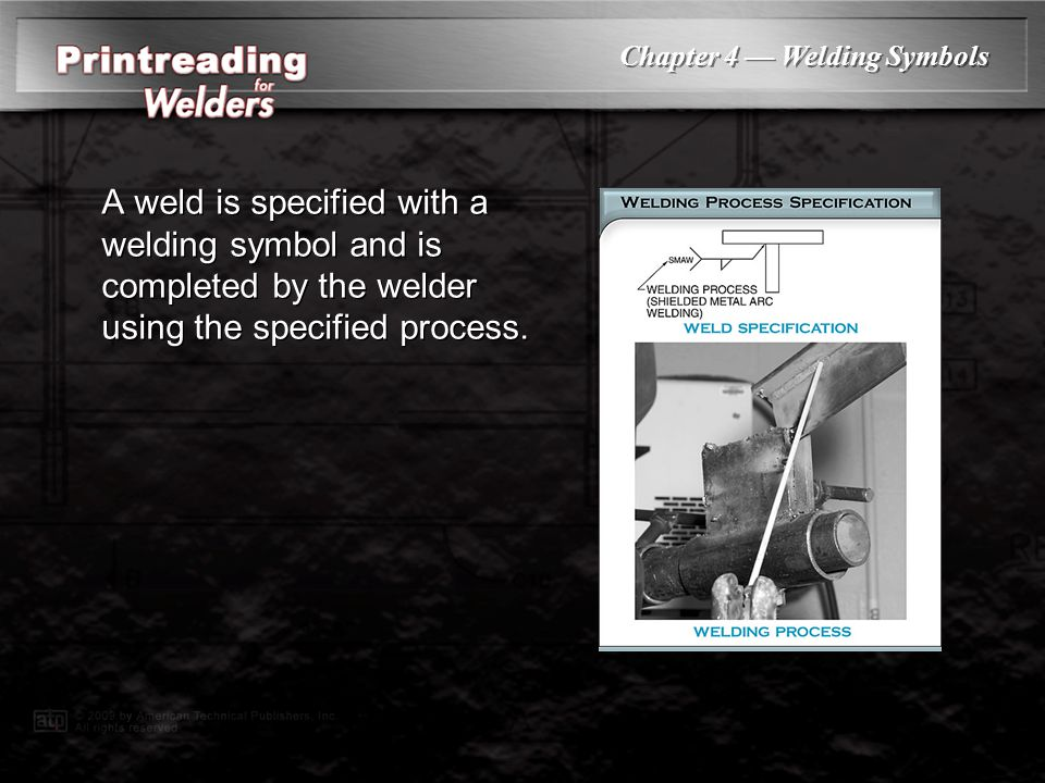 Chapter 4 — Welding Symbols A weld is specified with a welding symbol and is completed by the welder using the specified process.