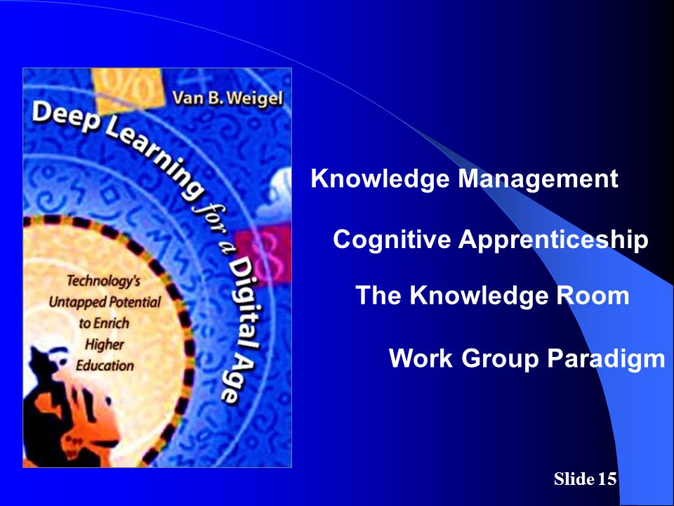 Slide 15 Knowledge Management Cognitive Apprenticeship Work Group Paradigm The Knowledge Room