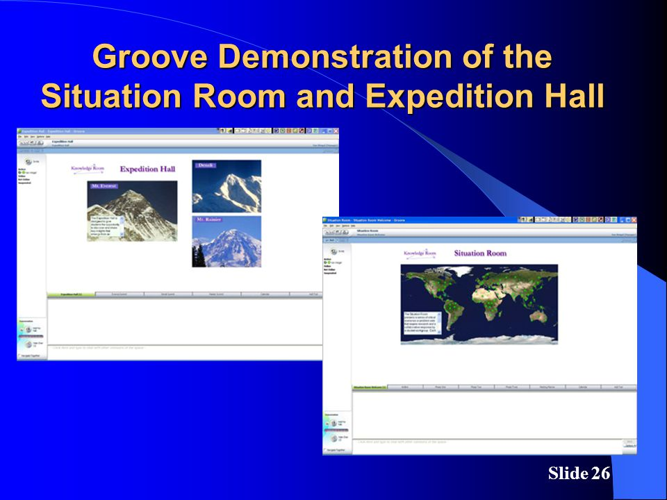 Slide 26 Groove Demonstration of the Situation Room and Expedition Hall