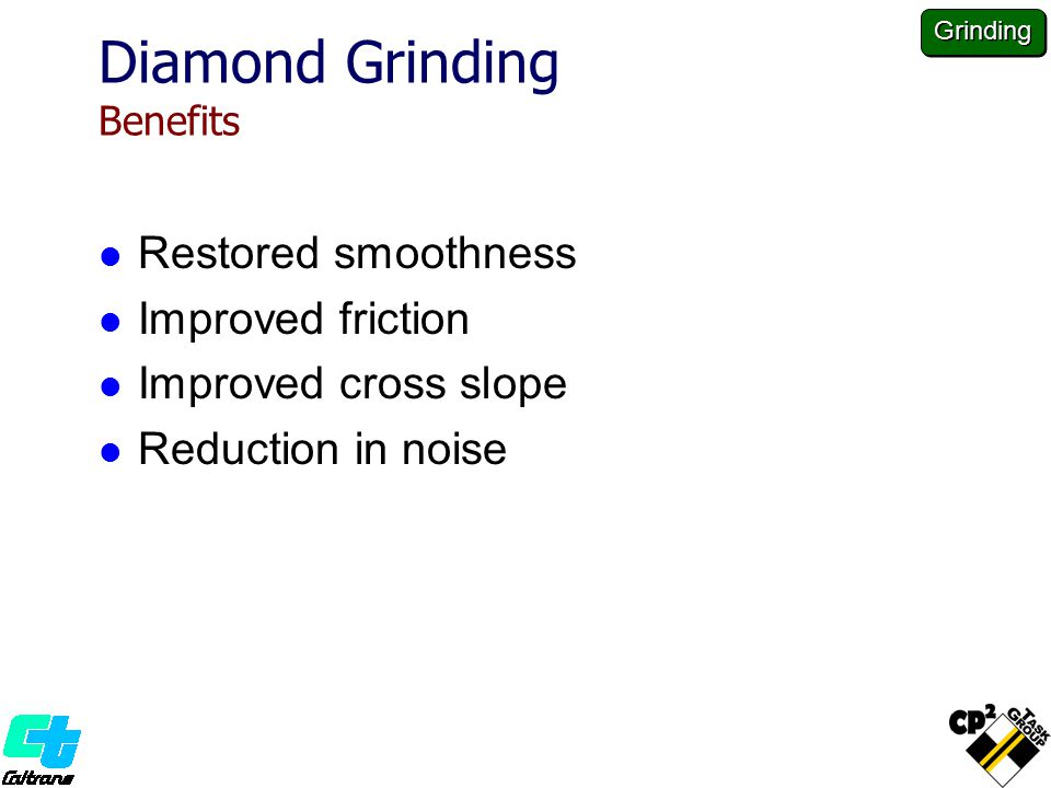 Diamond Grinding Benefits Restored smoothness Improved friction Improved cross slope Reduction in noise