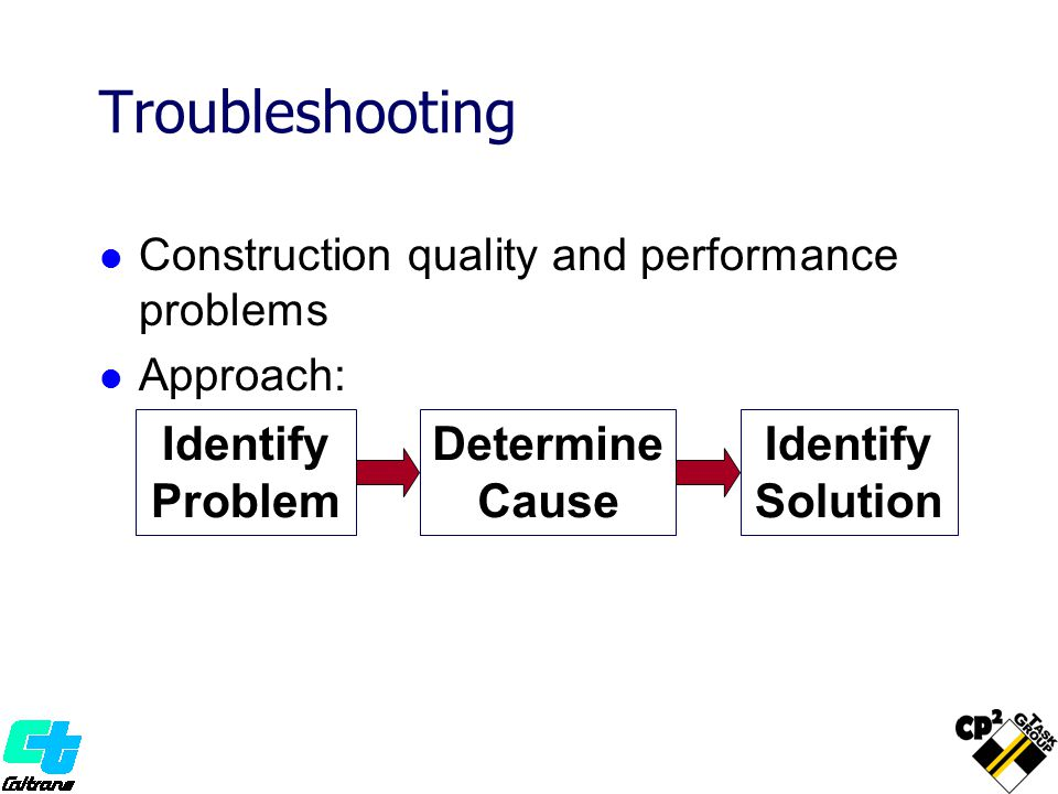 Troubleshooting Construction quality and performance problems Approach: Identify Problem Determine Cause Identify Solution