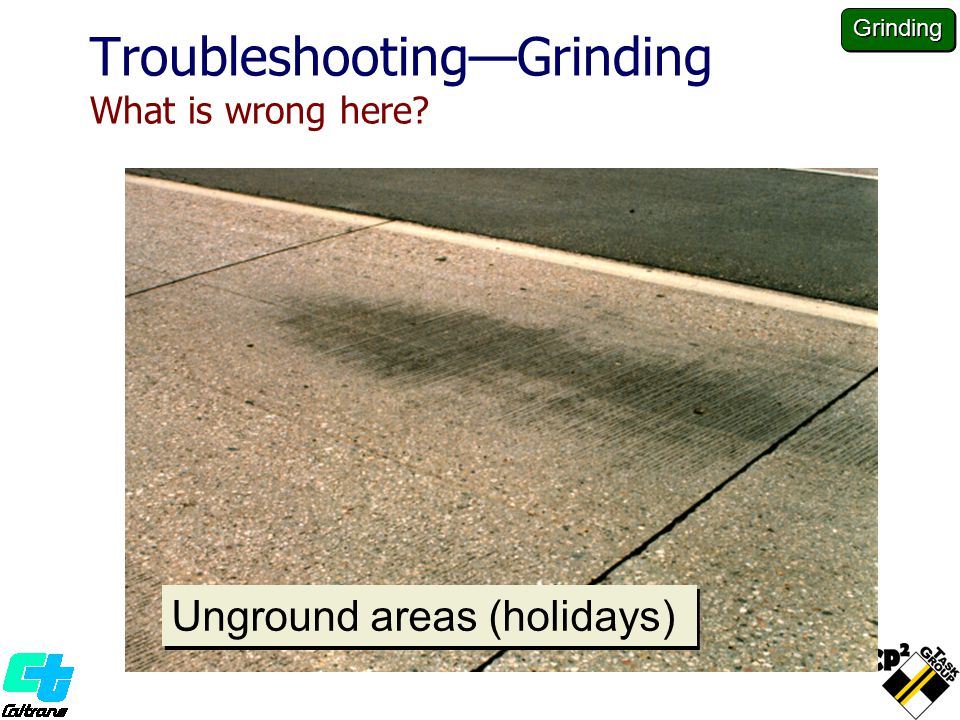Troubleshooting—Grinding What is wrong here? Unground areas (holidays) Grinding