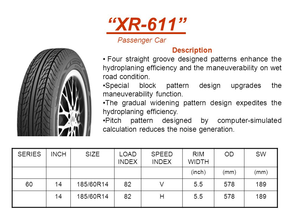 SERIESINCHSIZELOAD INDEX SPEED INDEX RIM WIDTH ODSW (mm)(inch)(mm) 195/60R1486H6.0590201 15195/60R1588V6.0615201 195/60R1588H60.615201 16205/60R1696(XL)V6.0652209 205/60R1696(XL)H6.0652209 215/60R1699(XL)H6.5664221 6513165/65R1377H5.0544170