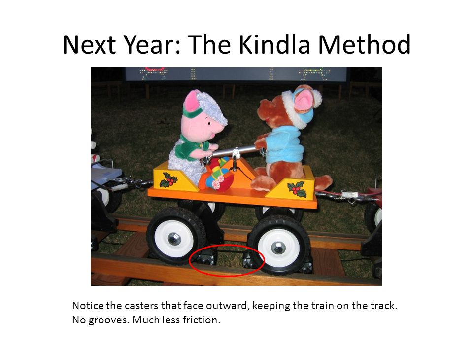 Next Year: The Kindla Method Notice the casters that face outward, keeping the train on the track.