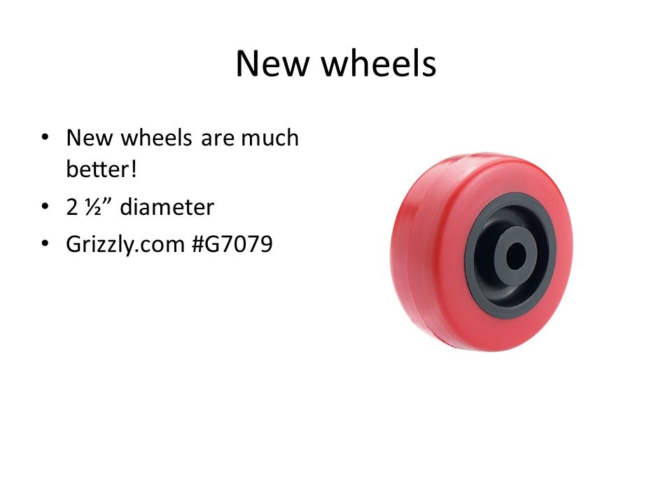 New wheels New wheels are much better! 2 ½ diameter Grizzly.com #G7079