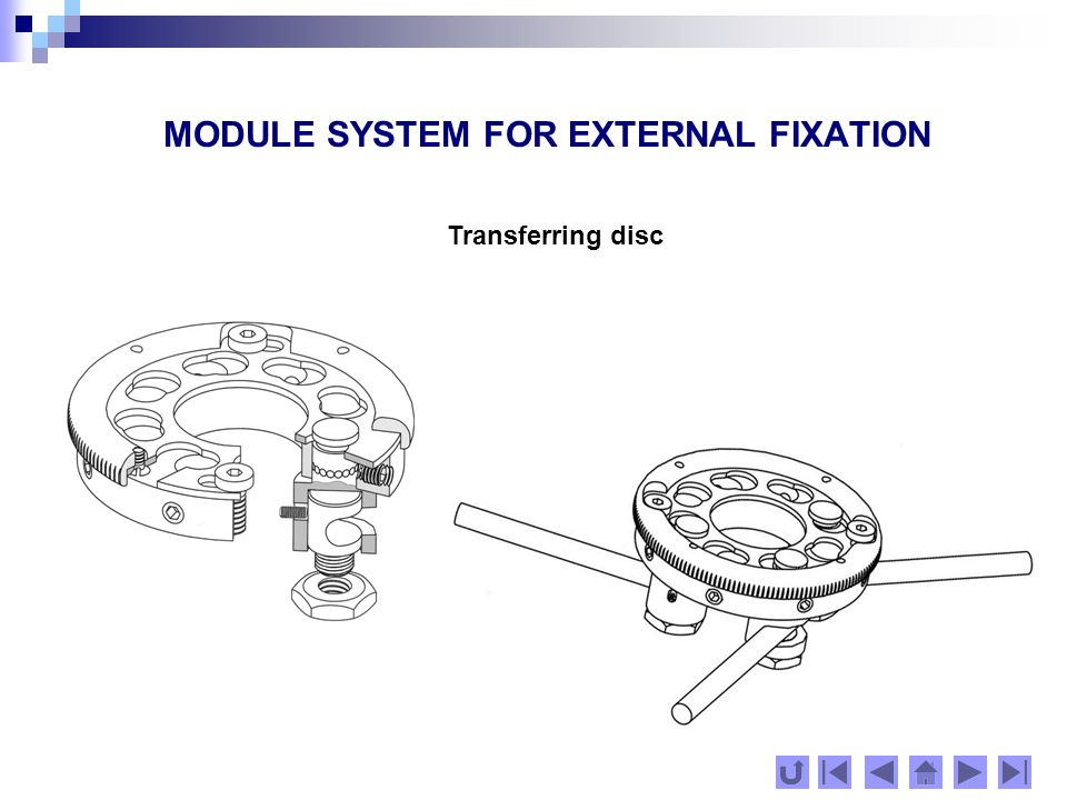MODULE SYSTEM FOR EXTERNAL FIXATION Module with crossed grooves Module with parallel grooves