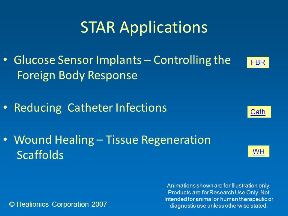 © Healionics Corporation 2007 Glucose Sensor Implants – Controlling the Foreign Body Response Reducing Catheter Infections Wound Healing – Tissue Regeneration Scaffolds STAR Applications FBR Cath WH Animations shown are for Illustration only.