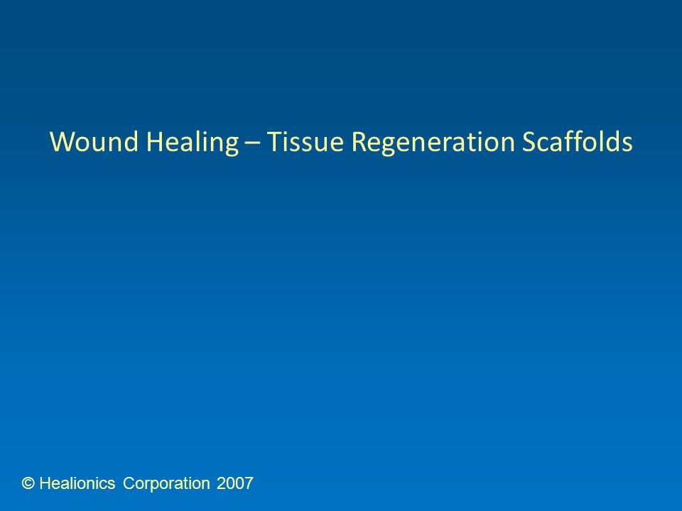 © Healionics Corporation 2007 Wound Healing – Tissue Regeneration Scaffolds