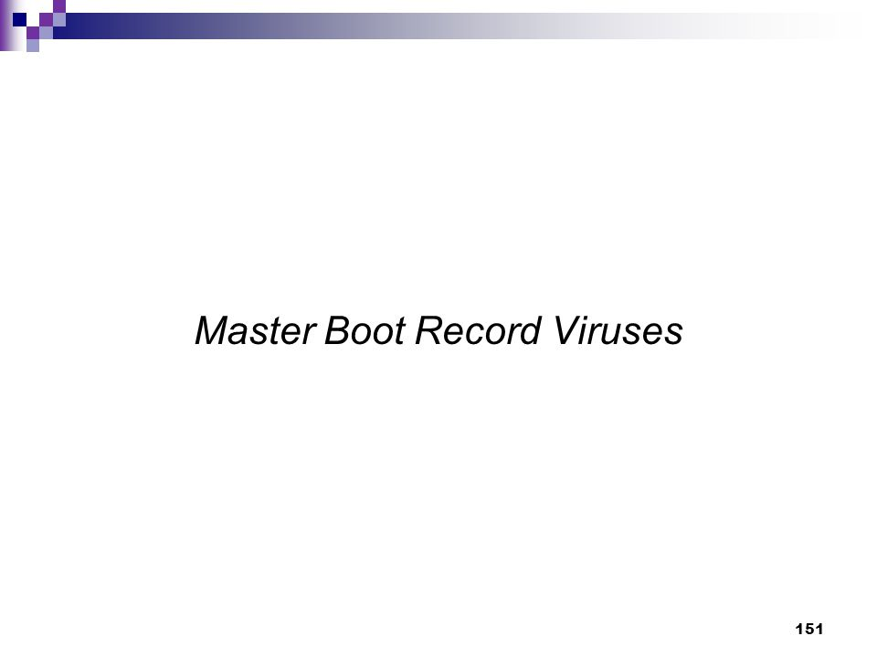 151 Master Boot Record Viruses