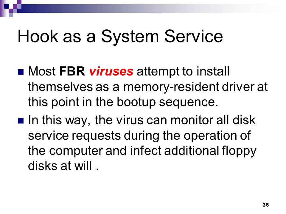 35 Hook as a System Service Most FBR viruses attempt to install themselves as a memory-resident driver at this point in the bootup sequence.