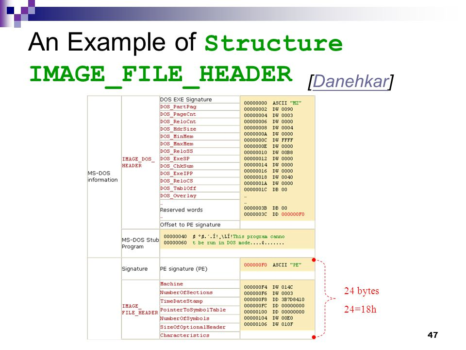 47 An Example of Structure IMAGE_FILE_HEADER [Danehkar]Danehkar 24 bytes 24=18h