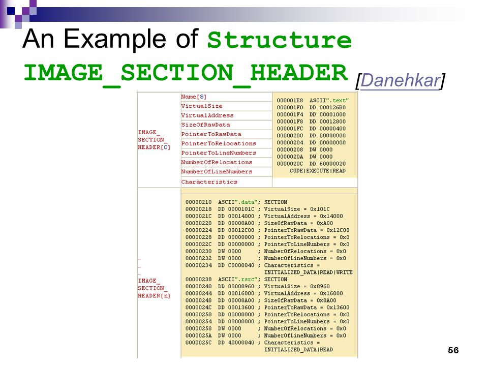 56 An Example of Structure IMAGE_SECTION_HEADER [Danehkar]Danehkar