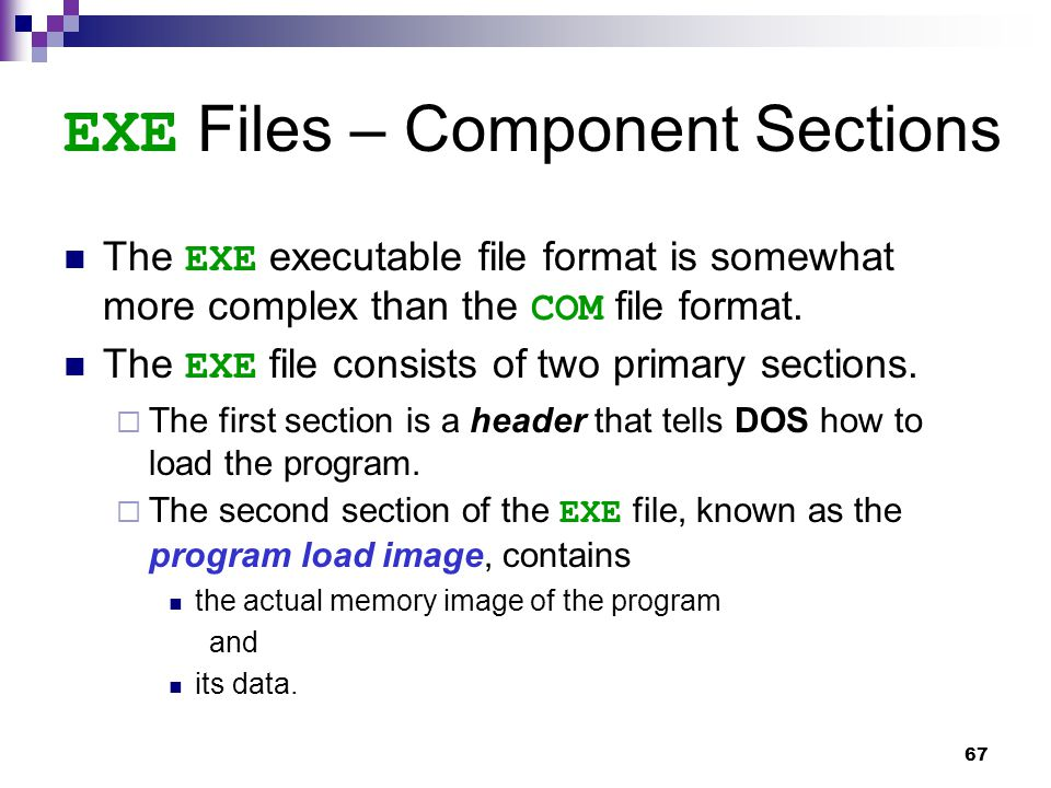 67 EXE Files – Component Sections The EXE executable file format is somewhat more complex than the COM file format.