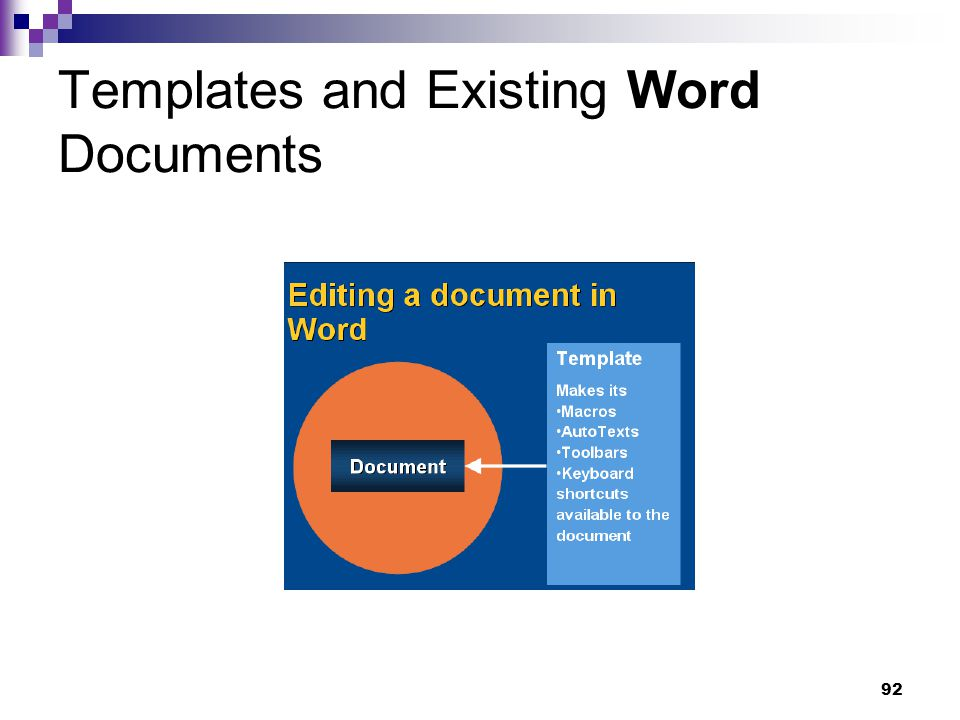 92 Templates and Existing Word Documents