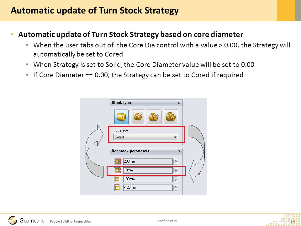 Confidential Automatic update of Turn Stock Strategy based on core diameter When the user tabs out of the Core Dia control with a value > 0.00, the Strategy will automatically be set to Cored When Strategy is set to Solid, the Core Diameter value will be set to 0.00 If Core Diameter == 0.00, the Strategy can be set to Cored if required 14 Automatic update of Turn Stock Strategy
