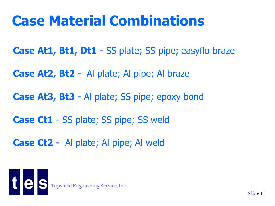 Topsfield Engineering Service, Inc. Slide 11 Case Material Combinations Case At1, Bt1, Dt1 - SS plate; SS pipe; easyflo braze Case At2, Bt2 - Al plate