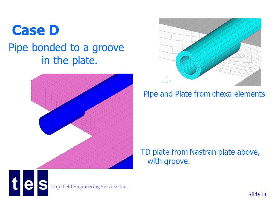 Topsfield Engineering Service, Inc. Slide 14 Case D Pipe and Plate from chexa elements Pipe bonded to a groove in the plate. TD plate from Nastran pla