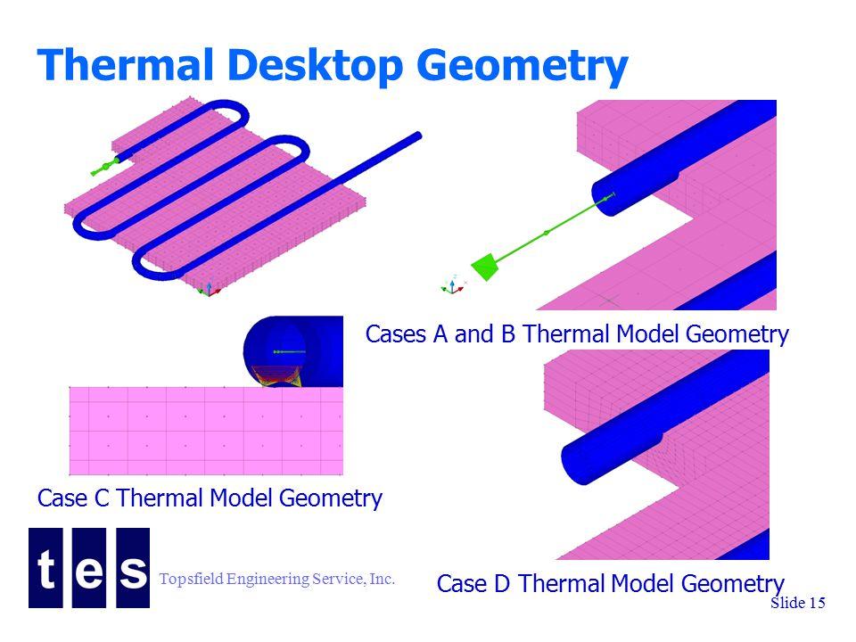 Topsfield Engineering Service, Inc. Slide 15 Thermal Desktop Geometry Cases A and B Thermal Model Geometry Case C Thermal Model Geometry Case D Therma