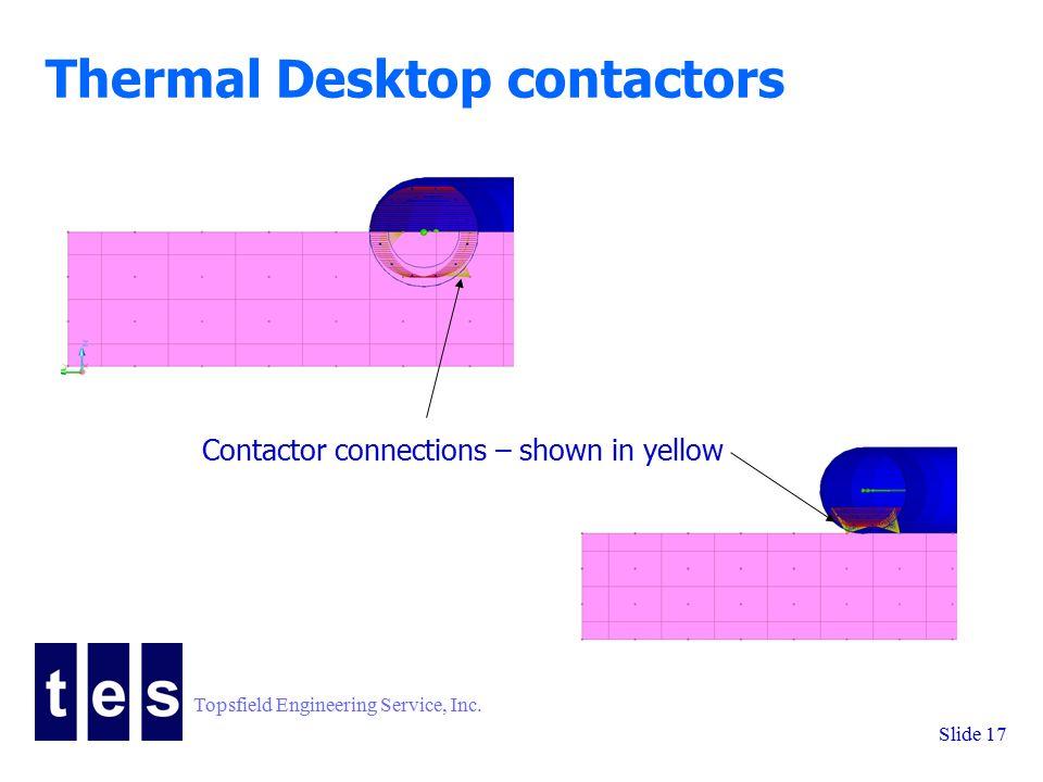 Topsfield Engineering Service, Inc. Slide 17 Thermal Desktop contactors Contactor connections – shown in yellow