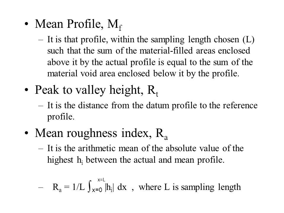 Surface Roughness expected from manufacturing processes