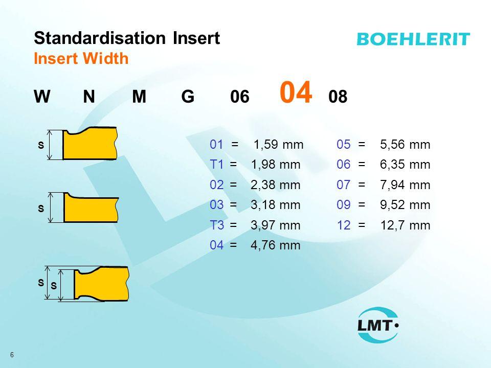6 Standardisation Insert Insert Width S S S S 01 = 1,59 mm T1=1,98 mm 02=2,38 mm 03=3,18 mm T3=3,97 mm 04=4,76 mm WNMG06 04 08 05 = 5,56 mm 06 = 6,35 mm 07 = 7,94 mm 09 = 9,52 mm 12 = 12,7 mm