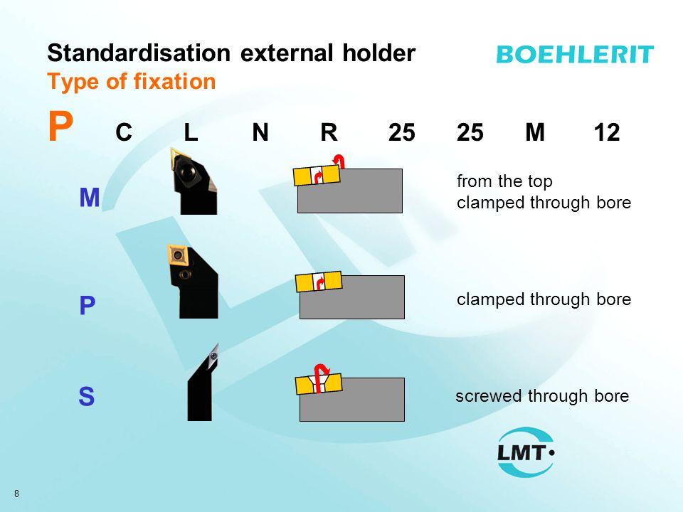 9 Standardisation external holder Insert form R S C W T D 90° 80° 60° 55° 35° V K55° -- P C LNR2525M12