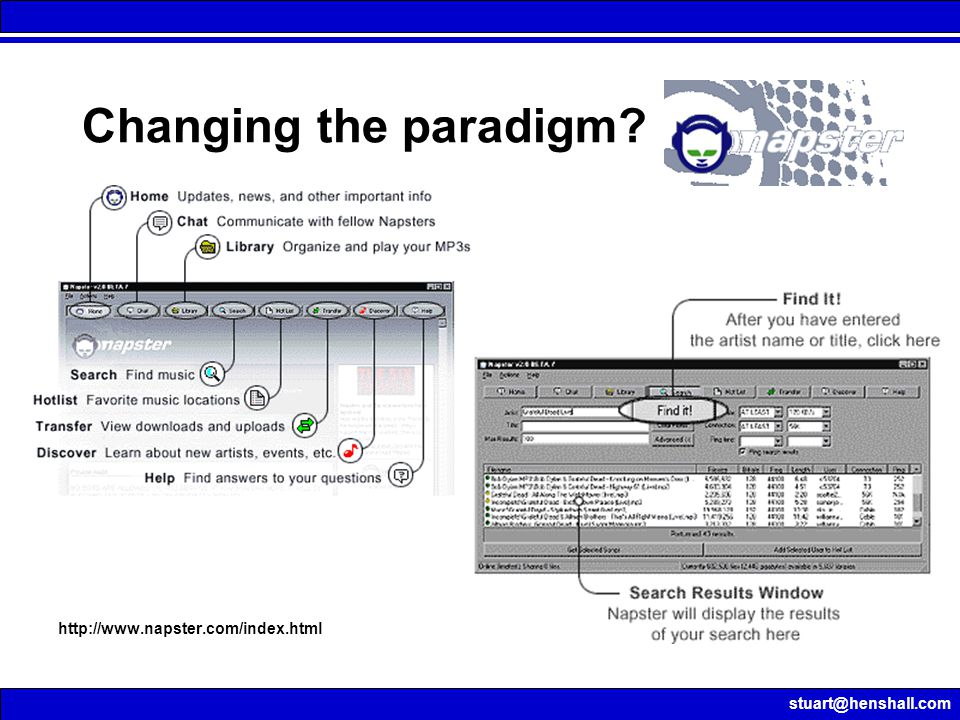 stuart@henshall.com http://www.napster.com/index.html Changing the paradigm