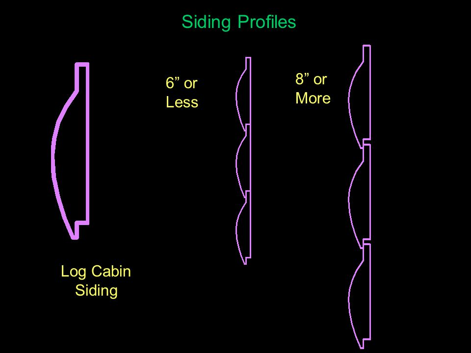 Siding Profiles Log Cabin Siding 6 or Less 8 or More