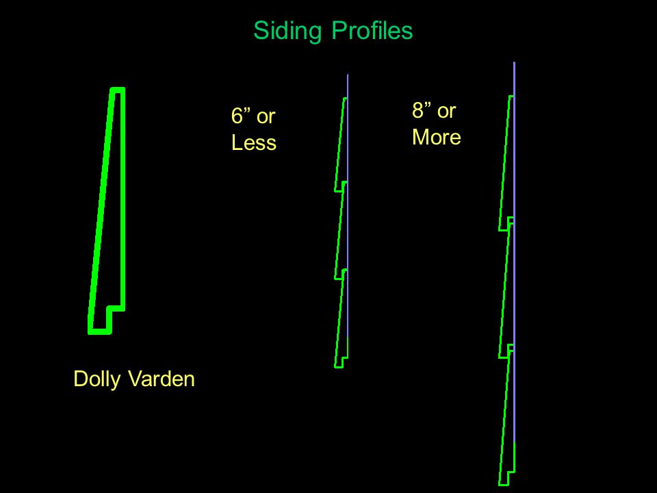 Siding Profiles 6 or Less 8 or More Dolly Varden
