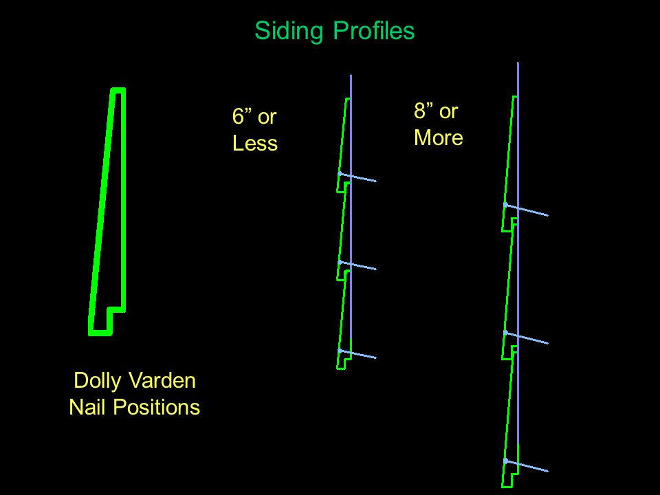 Siding Profiles 6 or Less 8 or More Tongue-And- Groove (T&G) Siding