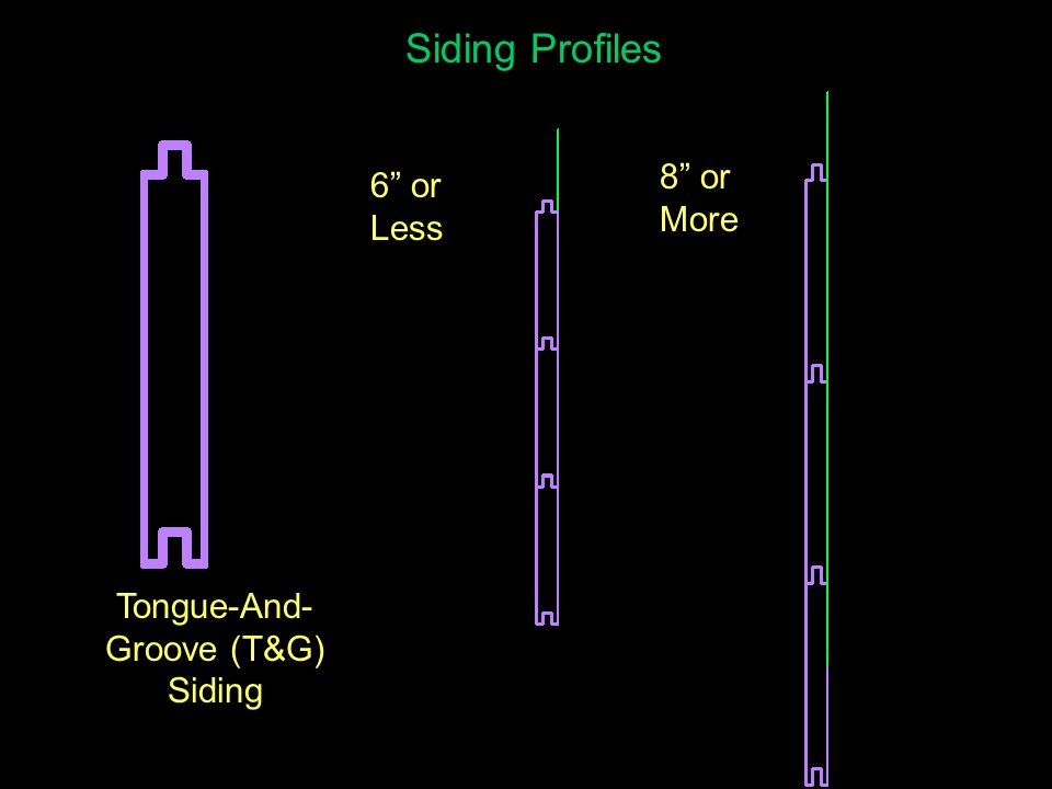 Siding Profiles 6 or Less 8 or More Tongue-And- Groove Siding Nailing Positions
