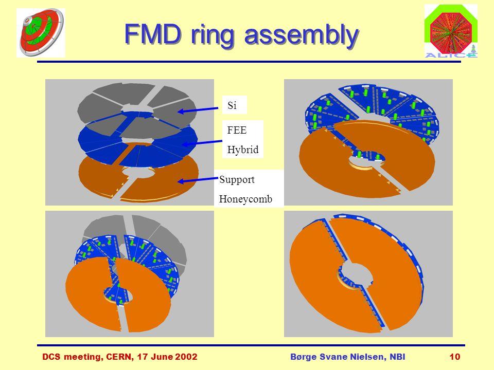 DCS meeting, CERN, 17 June 2002Børge Svane Nielsen, NBI10 FMD ring assembly Si FEE Hybrid Support Honeycomb