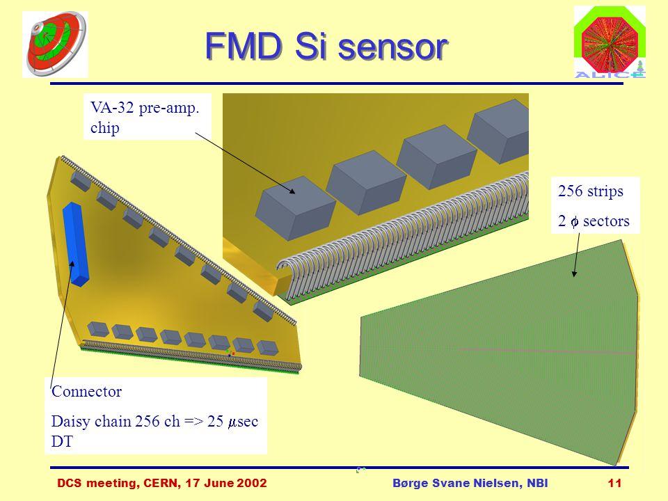 DCS meeting, CERN, 17 June 2002Børge Svane Nielsen, NBI11 FMD Si sensor 256 strips 2  sectors VA-32 pre-amp.