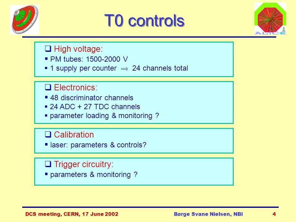 DCS meeting, CERN, 17 June 2002Børge Svane Nielsen, NBI4 T0 controls  High voltage:  PM tubes: 1500-2000 V  1 supply per counter  24 channels total  Electronics:  48 discriminator channels  24 ADC + 27 TDC channels  parameter loading & monitoring .
